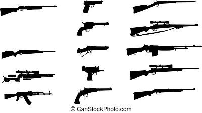 Rifles. Ilustración de vectores de rifles silueta.