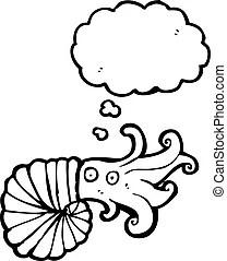 Nautilus, carácter, caricatura. Plano, nautilus, arte