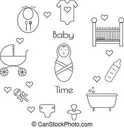 Bebé, tiempo baño.