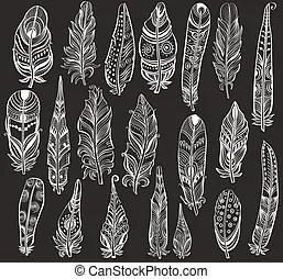 Tatuajes Blanco Conjunto Negro Backg Imagen Conjunto Tatuajes