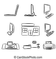 Dibujos, computadora de computadora portátil, escritorio