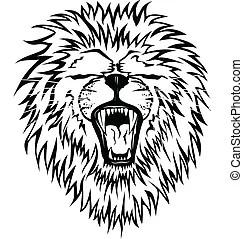 Imagen, vector, cabeza, león.