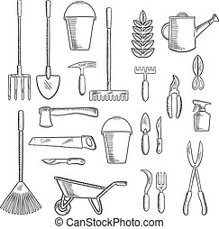 Agricultura, icono, herramientas de jardinería, equipo