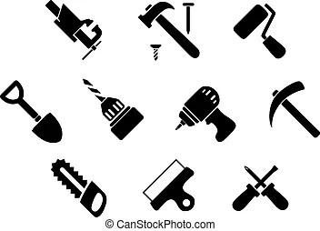 Negro, manual, eléctrico, herramientas, iconos