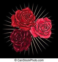 Dorado Moda Oro Ilustración Mano Rosas Vector Flor Bordado