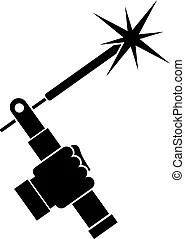 Ilustración vectorial de simple, antorcha, soldadura
