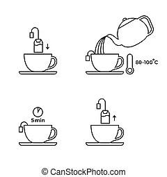 Preparación, instrucciones, icono. Gráfico, eps10