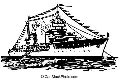 Bateau militaire. Grand, blanc, silhouette, fond, navire