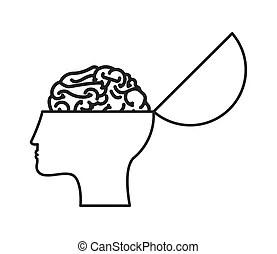 Profil, tête, concept, psychologie, cerveau, vecteur