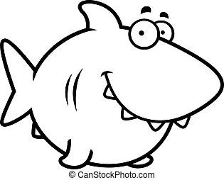 Sourire, dessin animé, requin. Requin, illustration