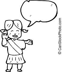 Girl, utile, guide, dessin animé.