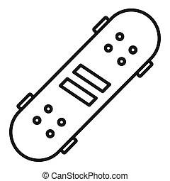 Icône, style, moderne, skateboard, contour. Toile, contour