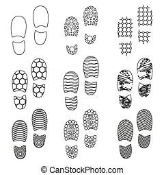 Empreinte, étape, symbols., chaussures, icons. Buttons