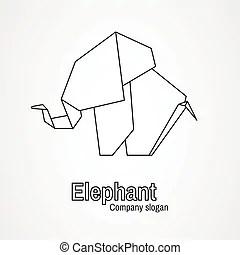 Icône, origami, style, dessin animé, éléphant. Toile