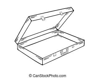 Vide, valise. Sur, fond, valise, blanc, ouvert, dessin