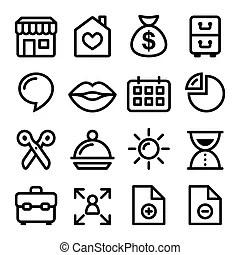 Site web, menu, coup, navigation, icône. Icônes toile
