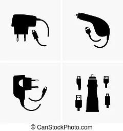 Téléphone portable, chargeur, ombre, image.
