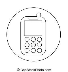 Téléphone portable, icône. Arrière-plan., simple, signal