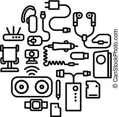Téléphone portable, icônes. Arrière-plan., mobile, icônes
