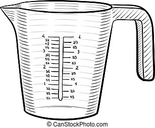 Tasse mesurer. Mesurer, sec, illustration., liquide, tasse