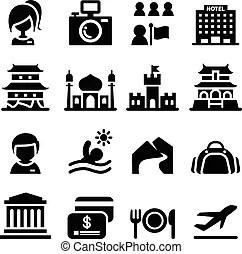 Tour, tourisme, icône. Tour, vecteur, tourisme, stockage