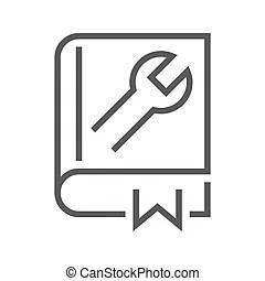 Livre, conception, utilisateur, illustration, guide.