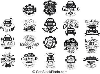 Réparation, illustration., service, logo, voiture, garage