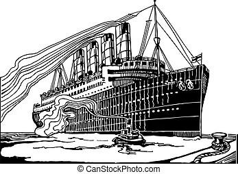 Élevé, détaillé, bateau, silhouette. Couches, (russian