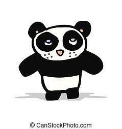 卡通, 熊貓. 射擊, 漂亮, 離開, 插圖, 熊貓, 藏品, 竹子, 卡通.