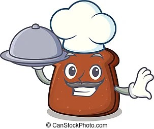 廚師, 新鮮, 卡通, bread. Illustration., 廚師, 矢量, 新鮮地, 烘烤, 卡通, bread.