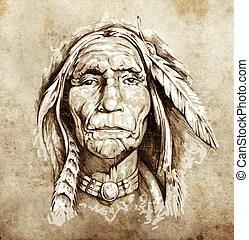 紋身, 略述, 頭, 美國印地安人, 肖像, 藝術. | CanStock
