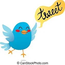 小鳥叫聲. 漂亮, tweeting., twittering, 藍色, 插圖, 卡通, 矢量, 鳥.
