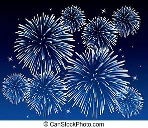 """煙火插圖和美工。 爲什麼藍色煙花如此少見? 首先我們要了解下煙花是如何""""上色""""的。480秒的絕美璀璨煙火規格不變, 天空,插圖和向量 EPS 圖像"""