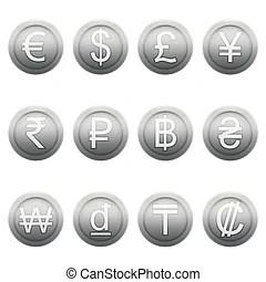 符號. 貨幣. 銀. 歐元. 分. naira. hryvna. 幼獸皮. 符號。. 法郎. 日元. 沉重打擊. 真正. 美元. tugrik. 集合. 一般. 古 ...