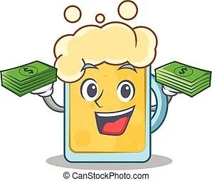 錢, 卡通, 蜜蜂. 錢包袱, 蜜蜂, 扣留手, 微笑, 卡通, 臀部.