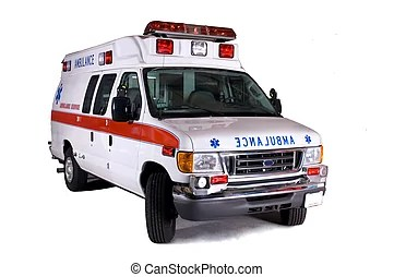 Render, 被隔離, 背景。, 救護車, 白色, 3d.