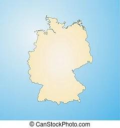 Térkép, németország, körvonal.