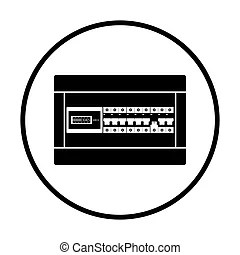 Circuit breakers box icon on gray background, round shadow