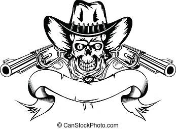 Skull cowboy aiming guns. Graphic image of a cowboy skull