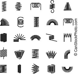 Metal spiral flexible wire elastic spring icons isolated