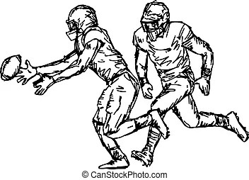Football helmet and hand silhouette. rugby. Football