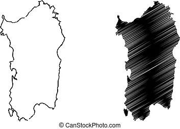 Sardegna vettore isola mappa Mappa schizzo illustrazione isola sardegna vettore