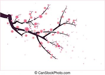 Cherry Blossoms Falling Stylized Wallpaper Bloesems Illustraties En Clip Art Zoek Onder 188 092
