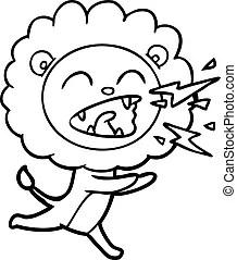 Karakter Leeuw Schattige Jonge Leeuw Cartoon Karakter Op