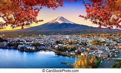 Mount fuji is the iconic postcard motive of japan and also a holy mountain. Fuji Mountain And Kawaguchiko Lake At Sunset Autumn Seasons Fuji Mountain At Yamanachi In Japan Canstock