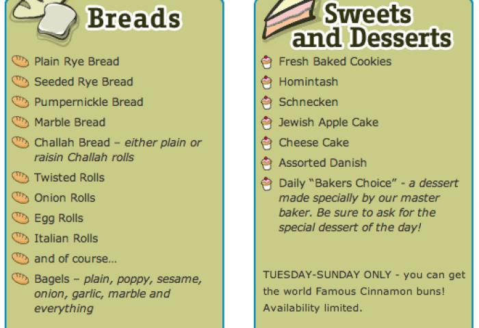Bread Cake Cookies Rolls Steve Steins Famous Deli