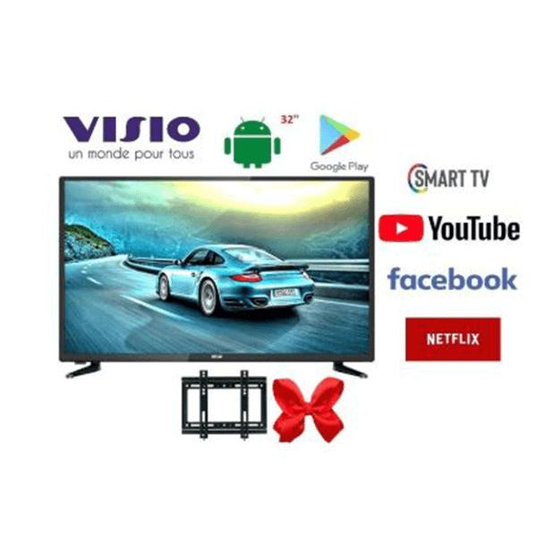 visio smart tv 32 android recepteur integre tnt usb hdmi support mural