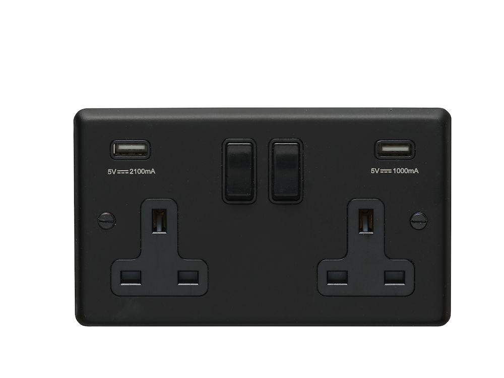 13A 2 Gang DP Switched Socket with USB - Matt Black