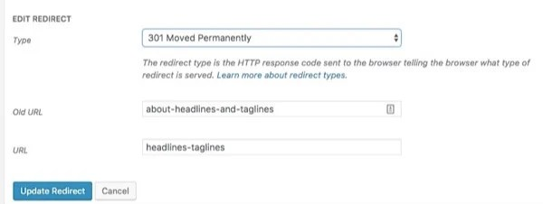 edit redirect redirects manager