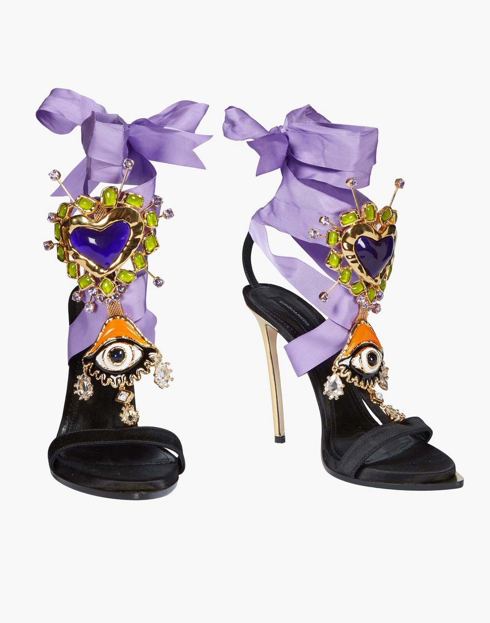lace-up embellished satin sandals shoes Woman Dsquared2